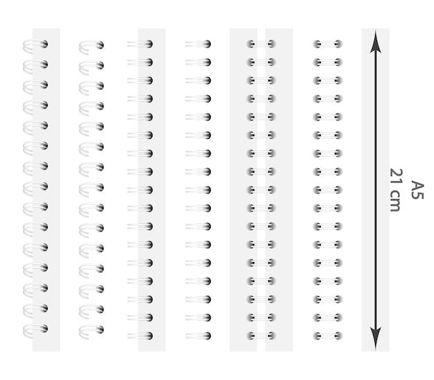 Set van witte spiralen voor een notebook.