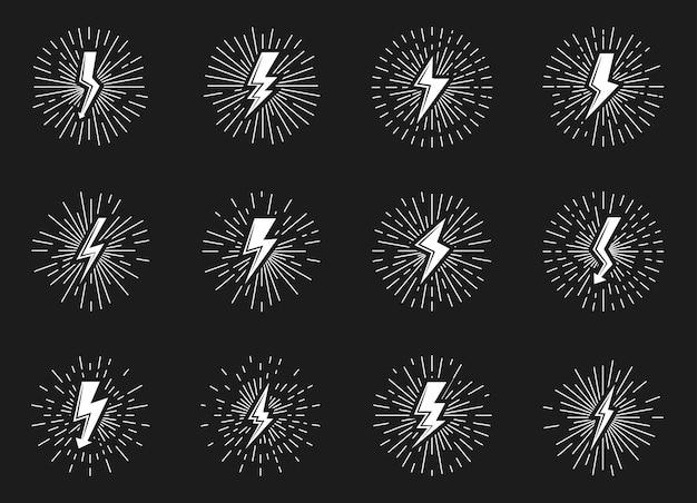 Set van witte vintage bliksemschicht met sunburst effect