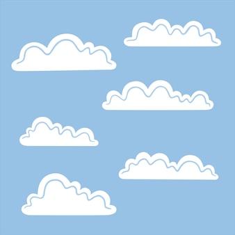 Set van witte wolken geïsoleerd op blauwe achtergrond. platte vectorillustratie