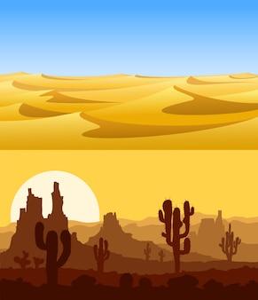 Set van woestijnlandschappen met gele zandduinen, cactussen, bergen en blauwe lucht.