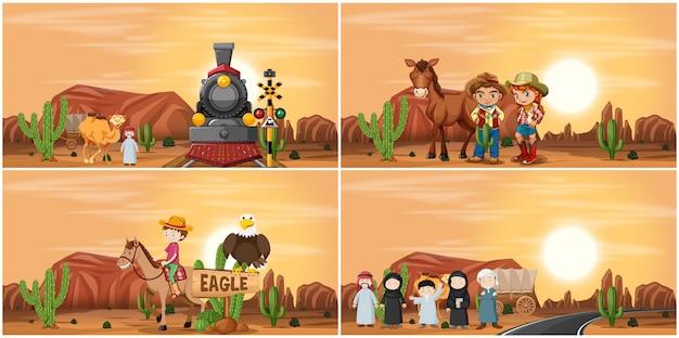 Set van woestijntafereel