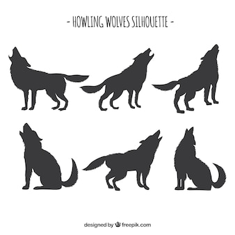 Set van wolfsilhouetten