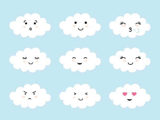 Set van wolkvormige emoji met verschillende sfeer. kawaii schattige wolken emoticons en gezichten uitdrukkingen.