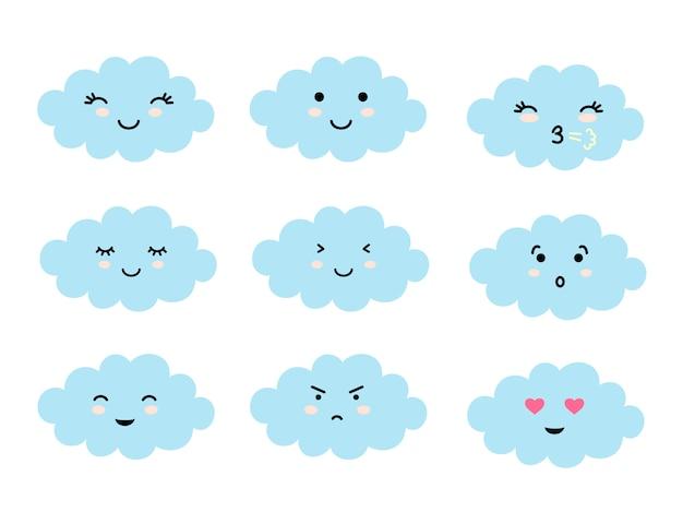 Set van wolkvormige emoji met verschillende stemming.