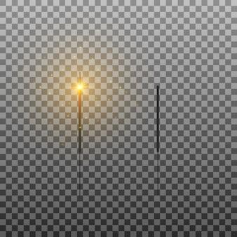 Set van wonderkaarsen brandende lichten vonken vuurwerk