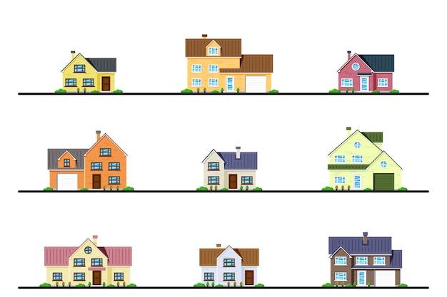 Set van woonhuizen in landelijke en voorsteden in cottage-stijl.