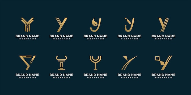 Set van y-logocollectie met gouden abstracte stijl premium vector