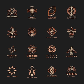Set van yoga en spa logo vector