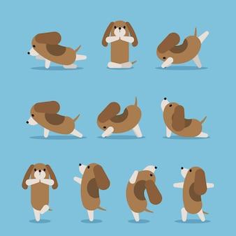 Set van yoga hond houdingen in verschillende posities