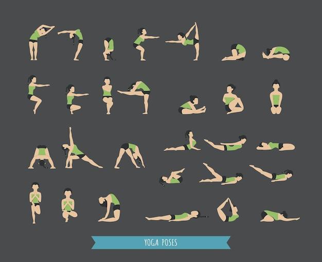 Set van yoga houdingen