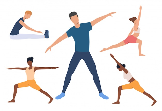 Set van yogi. mannen en vrouwen die yoga doen