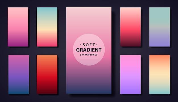 Set van zachte achtergrond met kleurovergang. gebruik voor telefoon-app, sociale netbehangverhalen, wenskaart, flyer, uitnodiging, poster, brochure, bannerkalender