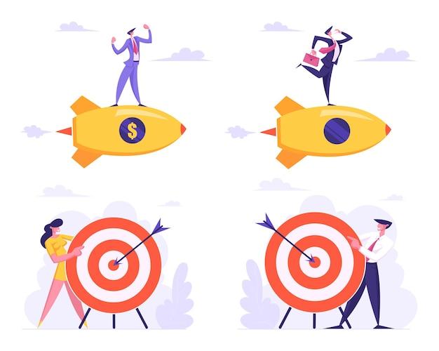 Set van zakelijke doelen prestatie, kansen en uitdaging taakoplossing