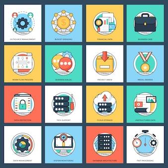 Set van zakelijke en datamanagement platte vector iconen