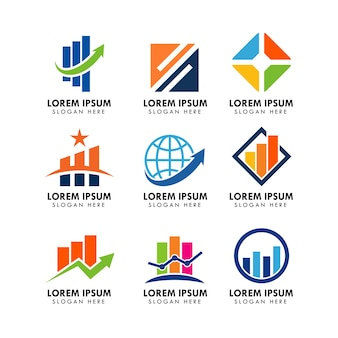 Set van zakelijke en financiële logo ontwerpsjabloon