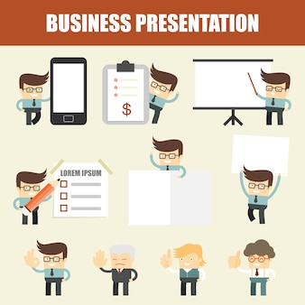Set van zakelijke man presentatie