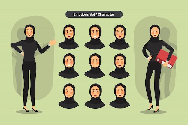 Set van zakelijke moslimvrouw gezichts verschillende uitdrukkingen.