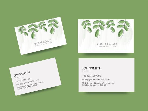 Set van zakelijke of visitekaartje met groene bladeren aan de voor- en achterkant.