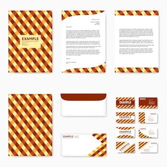Set van zakelijke papieren sjabloon met abstracte gele en bruine tartan