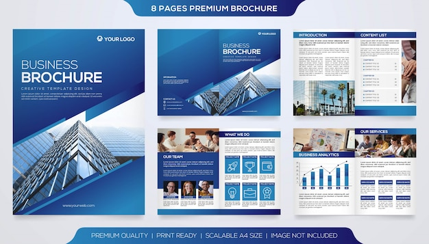 Set van zakelijke tweevoudige brochure sjabloon premium