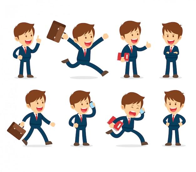 Set van zakenman cartoon werkend karakter ontwerp