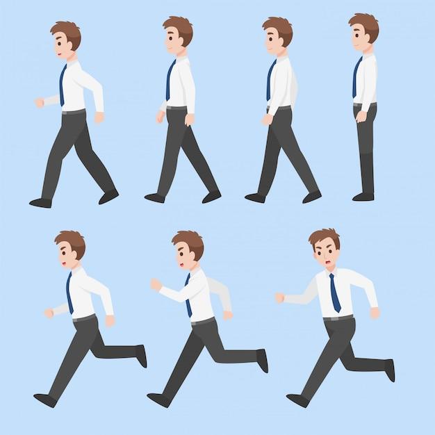Set van zakenman characterdesign in verschillende actie cartoon plat bedrijfsconcept.