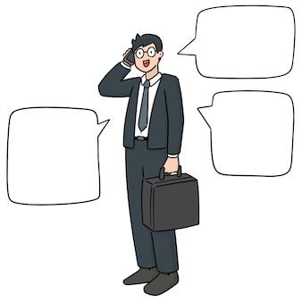 Set van zakenman gebruikend smartphone
