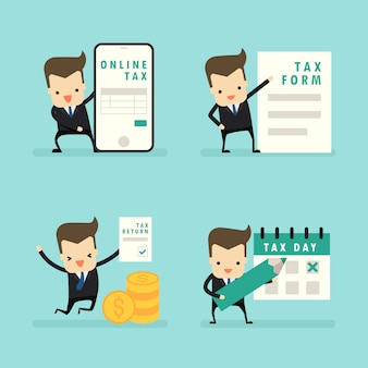 Set van zakenman in belastingconcept