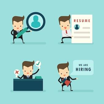 Set van zakenman in human resources en interview concept