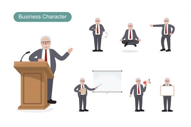 Set van zakenman in verschillende posities ingesteld Premium Vector