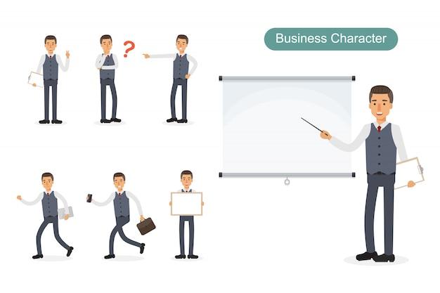 Set van zakenman in verschillende posities. Premium Vector
