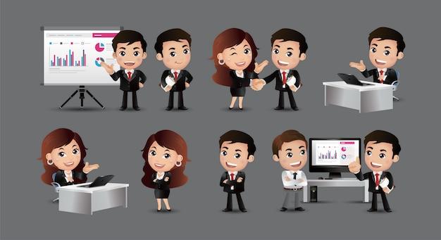 Set van zakenmensen en situaties presentatie overeenkomst een handdruk werk op de computer