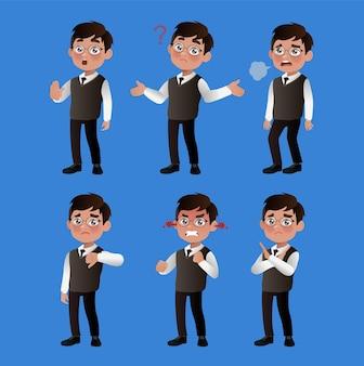 Set van zakenmensen met verschillende emoties