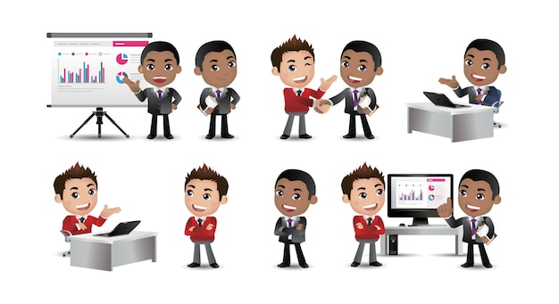 Set van zakenmensen presentatie overeenkomst werken op de computer Premium Vector