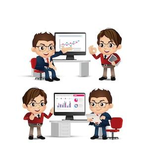 Set van zakenmensen presentatie overeenkomst werken op de computer