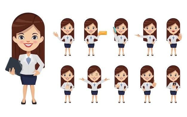 Set van zakenvrouw creatie chibi karakter poseren met beroep baan in uniform pak.