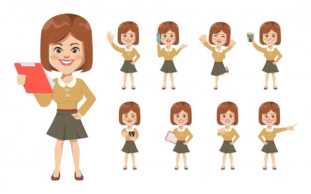 Set van zakenvrouw in office creatie karakter.