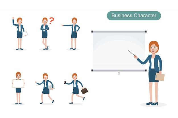 Set van zakenvrouw in verschillende posities