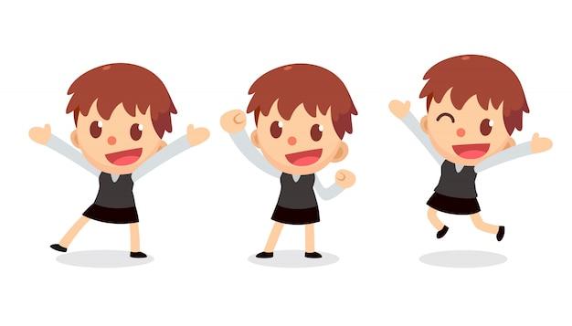 Set van zakenvrouw karakter in acties. blij en gelukkig.
