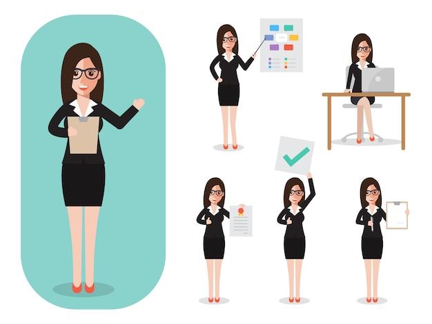 Set van zakenvrouw op het werk.