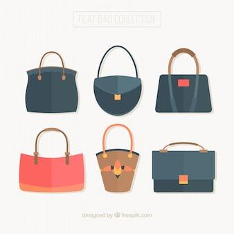 Set van zakken van de vrouw in vlakke stijl