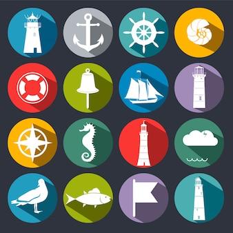 Set van zee iconen.