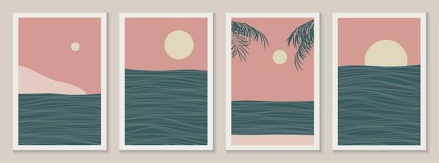 Set van zee landschap lijn kunst posters in aziatische japanse stijl met golven vectorillustratie