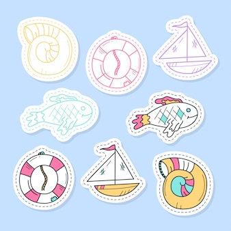 Set van zee stickers, spelden, patches en handgeschreven collectie in cartoon stijl.