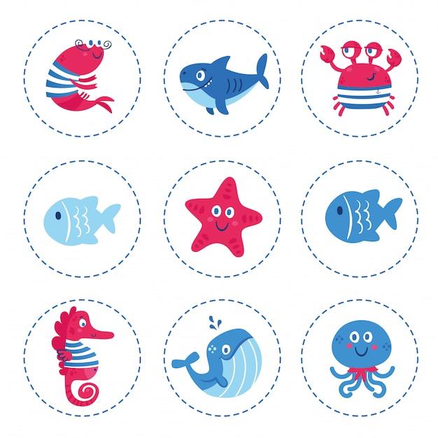 Set van zeedieren vissen haai walvis octopus ster seahorse krab.