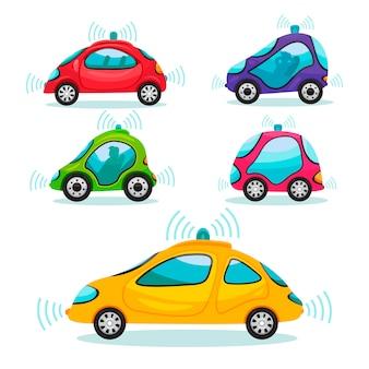 Set van zelfrijdende auto's in cartoon-stijl