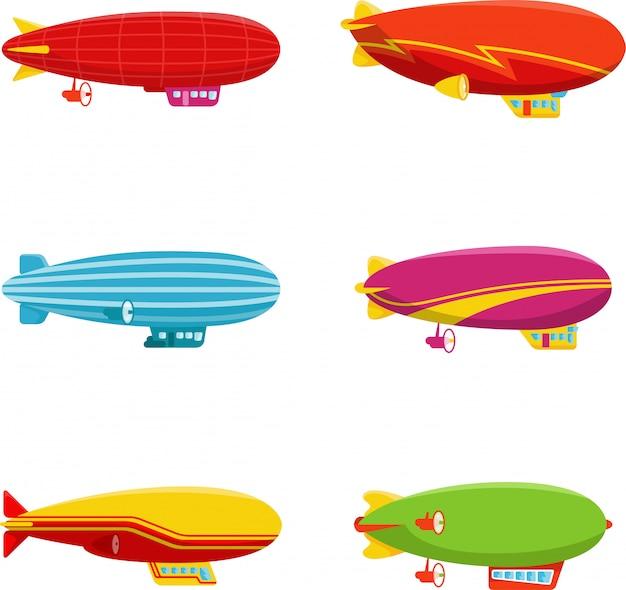 Set van zeppelin luchtschip in ander type