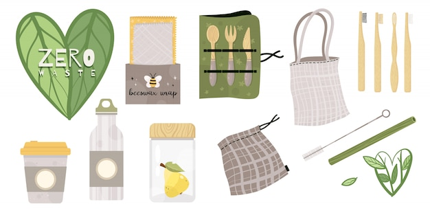 Set van zero waste duurzame en herbruikbare items of producten