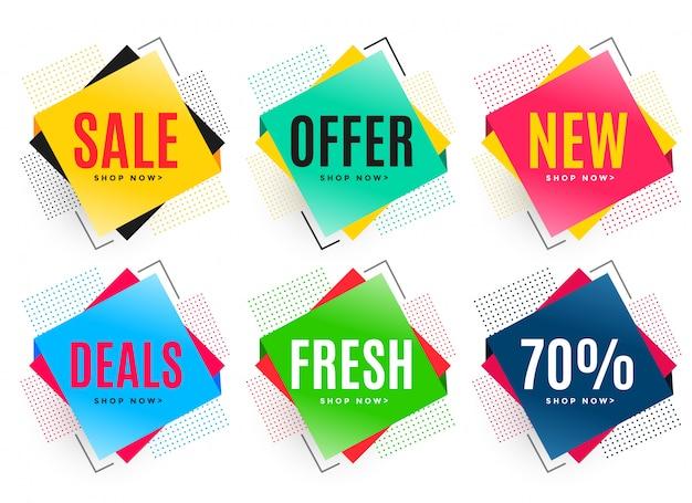 Set van zes abstracte verkoop stickers