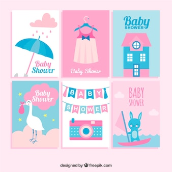 Set van zes baby shower kaarten in plat design